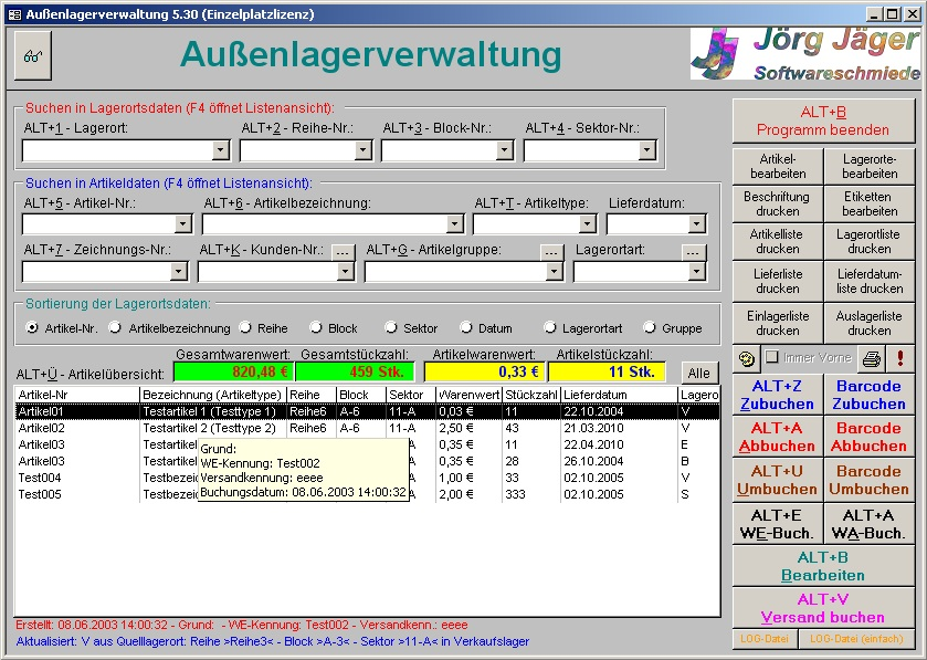 jj software au enlagerverwaltung lagerverwaltung