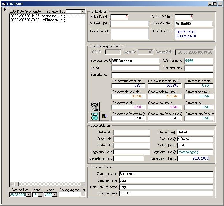 Beispiel für LOG-Dateiübersicht
