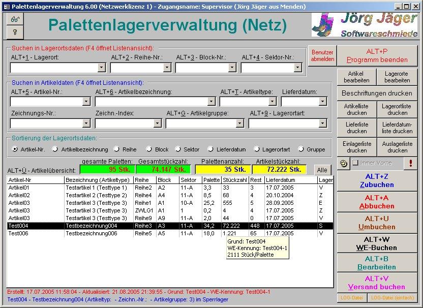 Startbild von Palettenlagerdatenbank