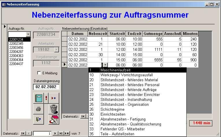 Startbild von Maschinennebenzeitverwaltung