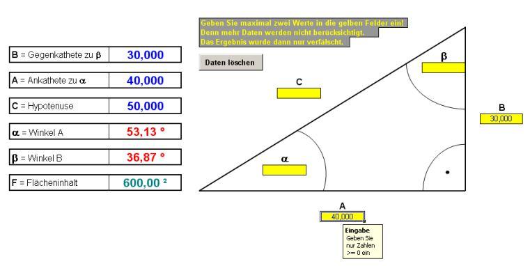 Winkelfunktionsberechnung